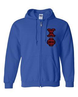 "Chi Phi Heavy Full-Zip Hooded Sweatshirt - 3"" Letters!"