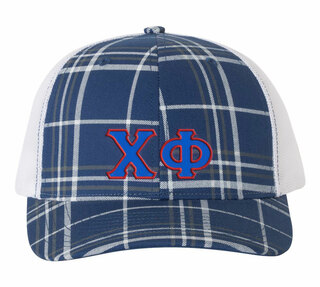 Chi Phi Plaid Snapback Trucker Hat - CLOSEOUT