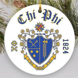 Chi Phi Round Christmas Shield Ornament