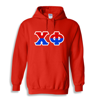 Chi Phi Two Tone Greek Lettered Hooded Sweatshirt