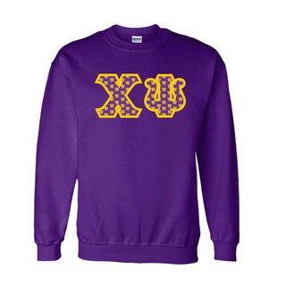 Chi Psi Fraternity Crest - Shield Twill Letter Crewneck Sweatshirt