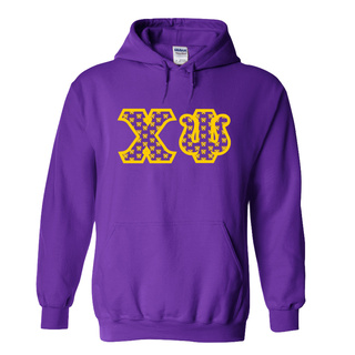 Chi Psi Fraternity Crest - Shield Twill Letter Hooded Sweatshirt