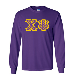 Chi Psi Fraternity Crest - Shield Twill Letter Longsleeve Tee
