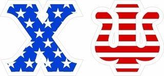 "Chi Psi Giant 4"" American Flag Greek Letter Sticker"