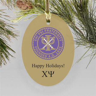Chi Psi Holiday Color Crest - Shield Ornament