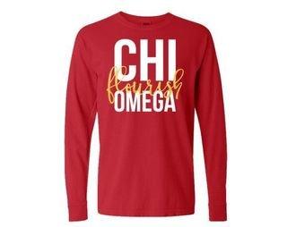 Chi Omega Flourish Long Sleeve