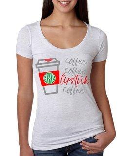 Coffee, Coffee, Lipstick Coffee Triblend Scoop Tee