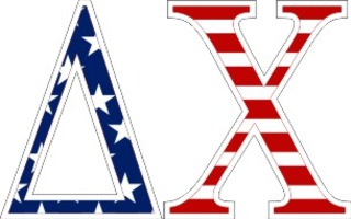 "Delta Chi American Flag Greek Letter Sticker - 2.5"" Tall"