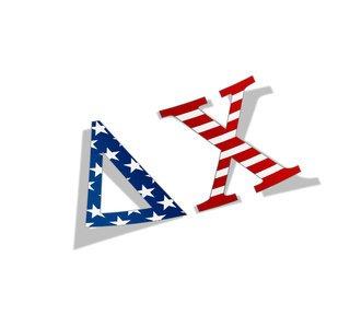 "Delta Chi American Flag Greek Letter Sticker - 2.5"" Tall"