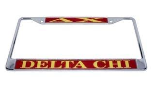 Delta Chi Chrome License Plate Frames