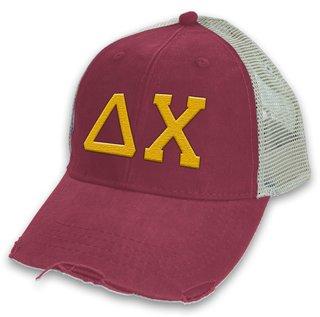 Delta Chi Distressed Trucker Hat