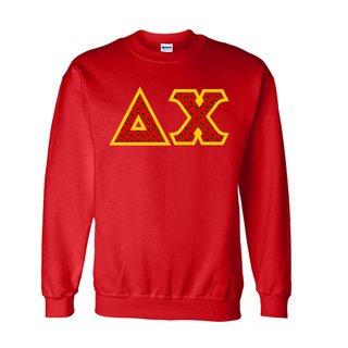 Delta Chi Fraternity Crest - Shield Twill Letter Crewneck Sweatshirt