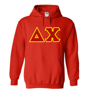 Delta Chi Fraternity Crest - Shield Twill Letter Hooded Sweatshirt