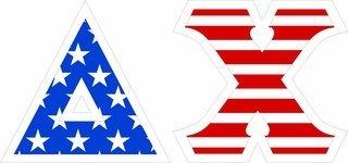 "Delta Chi Giant 4"" American Flag Greek Letter Sticker"