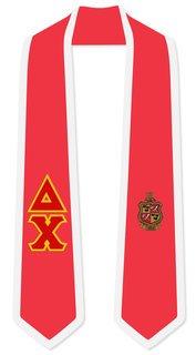Delta Chi Greek 2 Tone Lettered Graduation Sash Stole