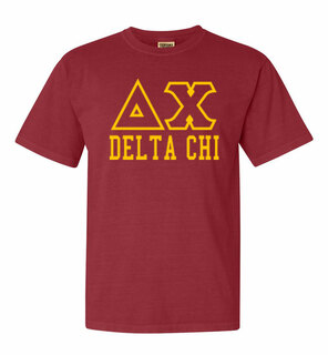 Delta Chi Greek Outline Comfort Colors Heavyweight T-Shirt