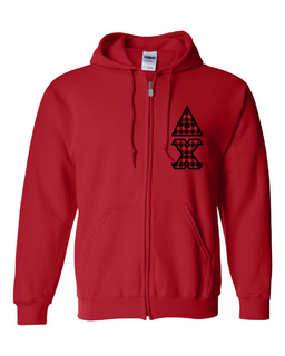 "Delta Chi Heavy Full-Zip Hooded Sweatshirt - 3"" Letters!"