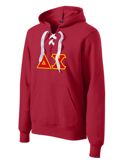 DISCOUNT-Delta Chi Lace Up Pullover Hooded Sweatshirt