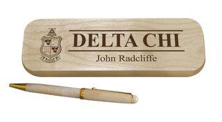 Delta Chi Maple Wood Pen Set
