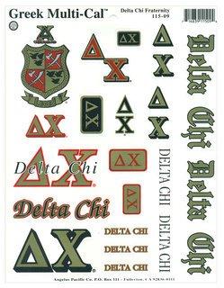 Delta Chi Multi Greek Decal Sticker Sheet