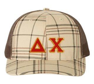 Delta Chi Plaid Snapback Trucker Hat - CLOSEOUT