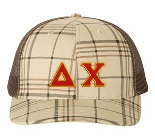 Delta Chi Plaid Snapback Trucker Hat