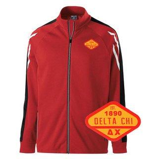 DISCOUNT-Delta Chi Woven Emblem Greek Flux Track Jacket