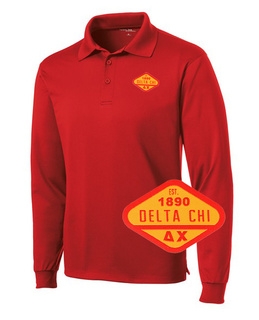 DISCOUNT-Delta Chi Woven Emblem Greek Long Sleeve Dry Fit Polo