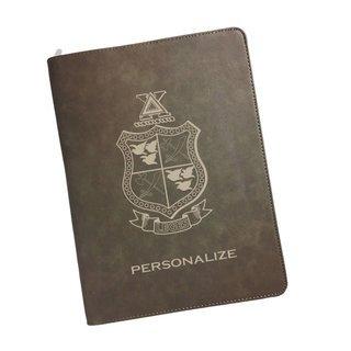 Delta Chi Zipper Leatherette Portfolio with Notepad