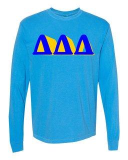 Delta Delta Delta 3 D Greek Long Sleeve T-Shirt - Comfort Colors