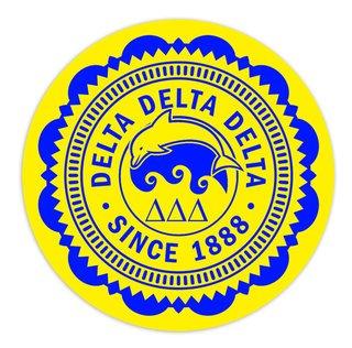 """Delta Delta Delta 5"""" Sorority Seal Bumper Sticker"""