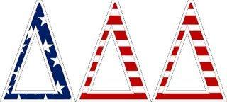 """Delta Delta Delta American Flag Greek Letter Sticker - 2.5"""" Tall"""
