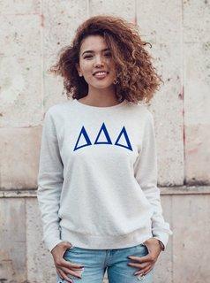 Delta Delta Delta Arched Greek Lettered Crewneck Sweatshirt