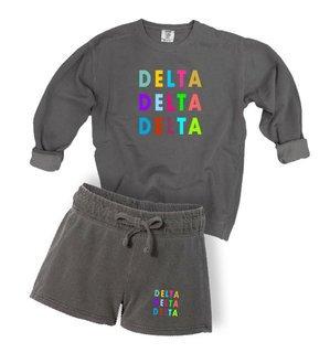 Delta Delta Delta Comfort Colors Crew and Short Set