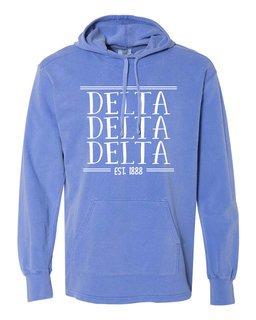 Delta Delta Delta Comfort Colors Terry Scuba Neck Custom Hooded Pullover