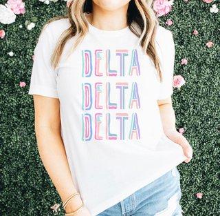 Delta Delta Delta Comfort Colors Tinsel Tee