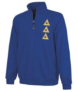 Delta Delta Delta Crosswind Quarter Zip Twill Lettered Sweatshirt