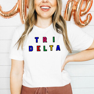 Delta Delta Delta Custom Colors Embroidered Nickname Tee