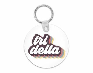 Delta Delta Delta Retro Script Keychain