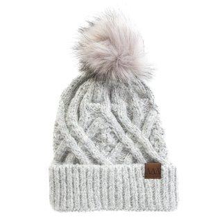 Delta Delta Delta Faux Fur Pom Beanie Hat