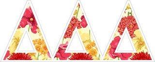 """Delta Delta Delta Floral Greek Letter Sticker - 2.5"""" Tall"""