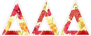 "Delta Delta Delta Floral Greek Letter Sticker - 2.5"" Tall"