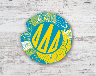 Delta Delta Delta Floral Monogram Sandstone Car Cup Holder Coaster