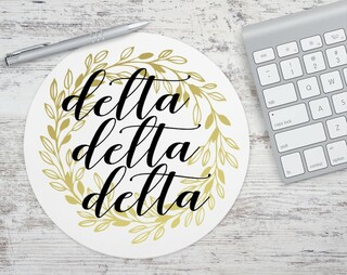 Delta Delta Delta Gold Wreath Mousepad