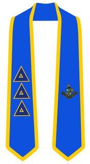 Delta Delta Delta Greek 2 Tone Lettered Graduation Sash Stole