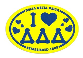 Delta Delta Delta I Love Sorority Sticker - Oval