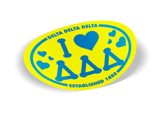 Delta Delta Delta I Love Sorority Sticker - Oval