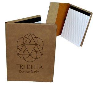 Delta Delta Delta Mascot Leatherette Portfolio with Notepad