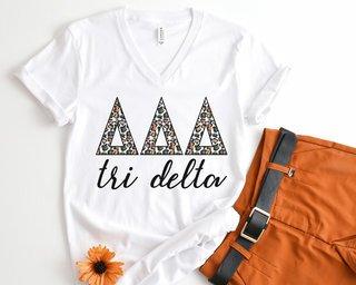 Delta Delta Delta Leopard V-Neck Tee
