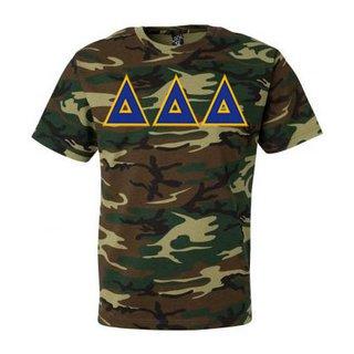 DISCOUNT-Delta Delta Delta Lettered Camouflage T-Shirt